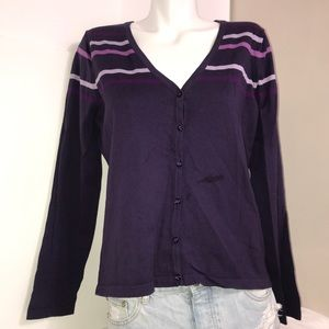 Reflections Mixed Plum Button Cardigan Sweater